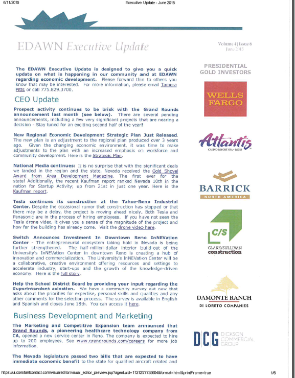 EDAWN Executive Update - June 2015