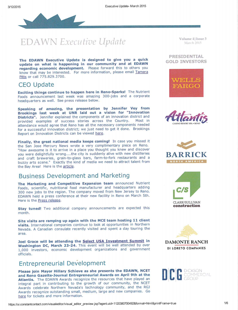 EDAWN Executive Update March 2015